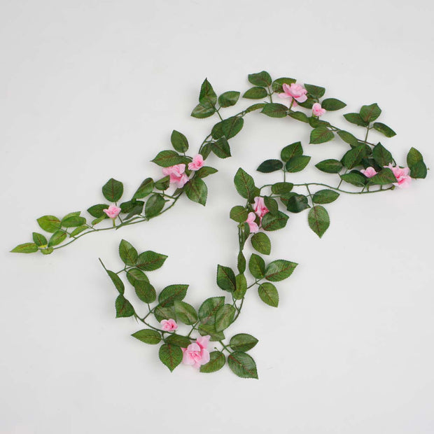 2 x Pink Rose (3cm) Artificial Flower Vine - 1.6m