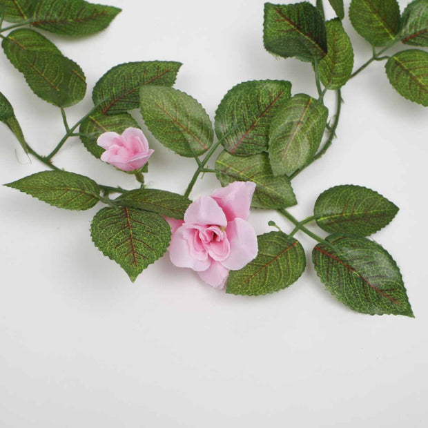 2 x Pink Rose (3cm) Artificial Flower Vine - 1.6m Flower Close Up