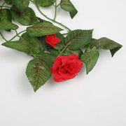 Red Rose (3cm) Artificial Flower Vine - 1.6m Flower Close Up
