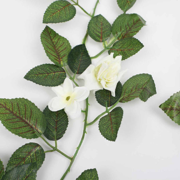 2 x White Rose (3cm) Artificial Flower Vine - 1.6m