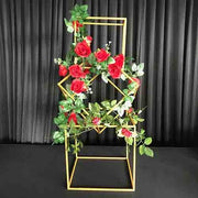 Artificial Red Rose Bouquet On Iron Frame
