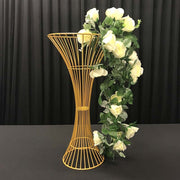 2pc Gold Pedestal Centrepiece Flower Stand Hour Glass Shape (60cm Tall) With Flower Arrangement