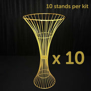 10pc Gold Pedestal Centrepiece Flower Stand Hour Glass Shape (60cm Tall) *BEST VALUE*