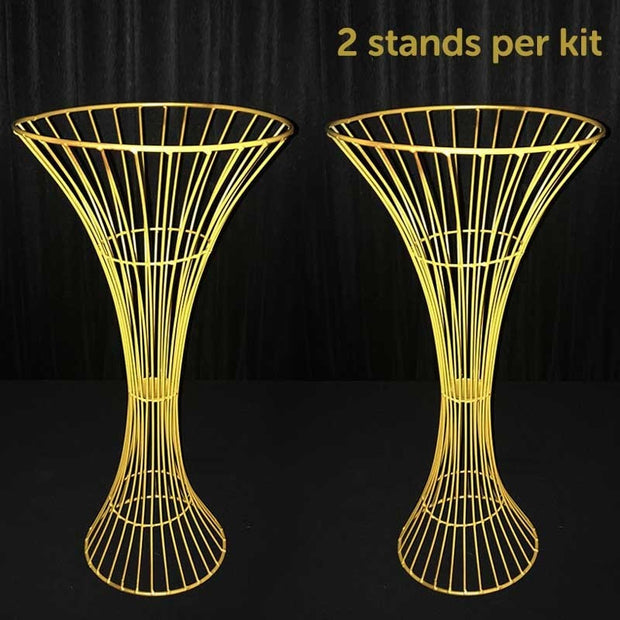 2pc Gold Pedestal Centrepiece Flower Stand Hour Glass Shape (60cm Tall)