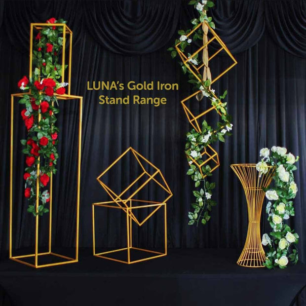 2pc Gold Pedestal Centrepiece Flower Stand Hour Glass Shape (60cm Tall) Iron Stand Range