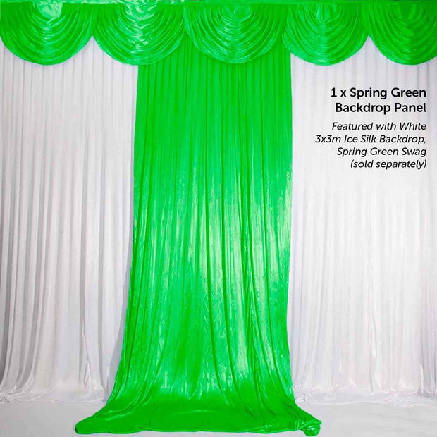 Tropical Spring Green Ice Silk Satin Backdrop Convertible Panels 1mx3m