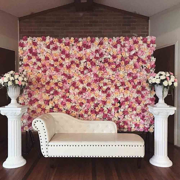 Flower Wall - Rose & Hydrangea (Pink, White, Peach) Assembled Panels