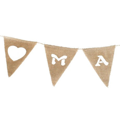 Bunting - Hessian Just Married Triangles