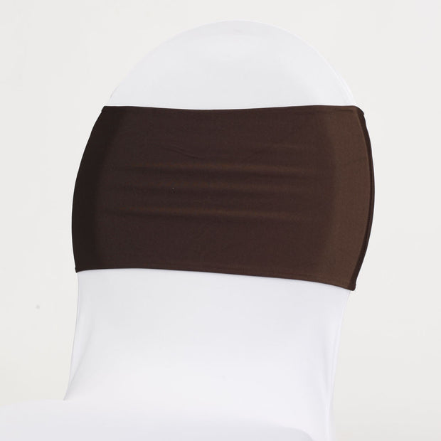 Lycra Chair Bands Front- Chocolate Brown