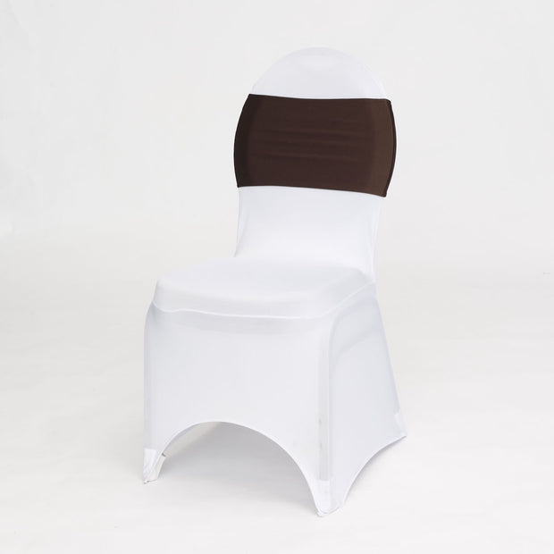 Lycra Chair Bands Front - Chocolate Brown