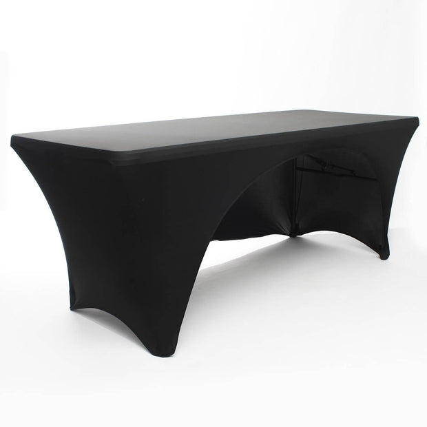 Black 3 Sided Lycra Fitted Tablecloth 6ft