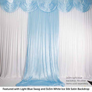 Light Blue Ice Silk Satin Backdrop Convertible Panels 1mx3m