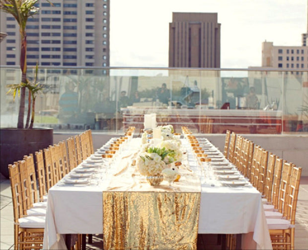 Sequin Table Runner - Champagne Gold In Setting