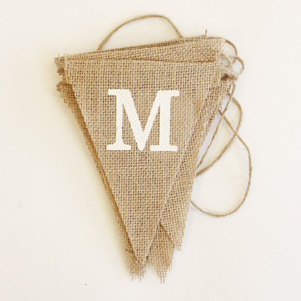 Bunting - Hessian Mr & Mrs Triangles