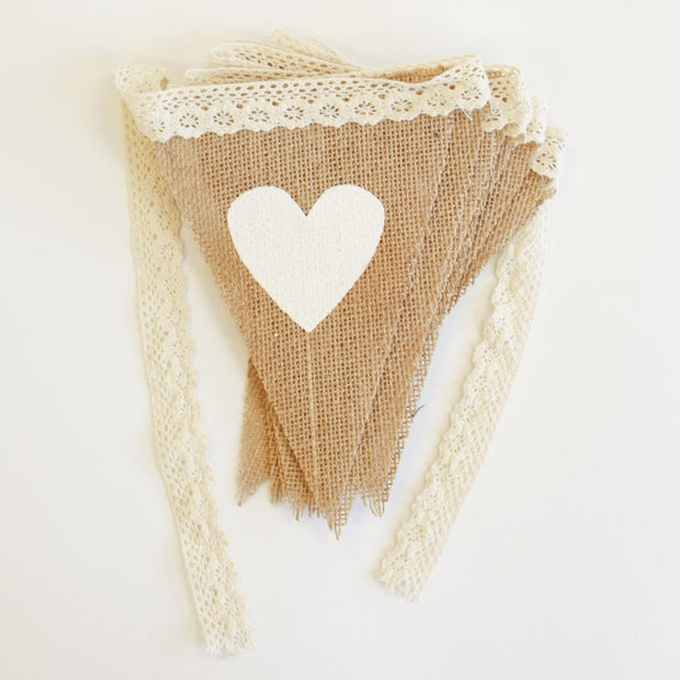 Bunting - Heart and Lace Hessian Triangles
