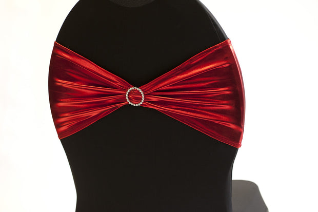 Lycra Chair Bands detail - Metallic Red