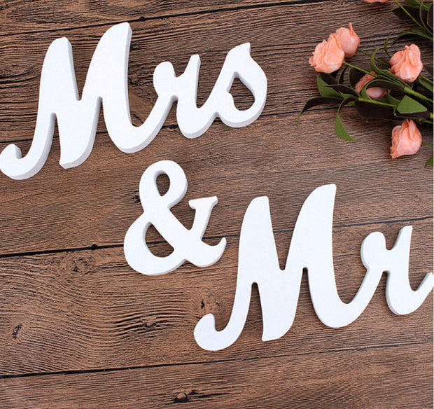 Mr & Mrs Wooden Letter Set