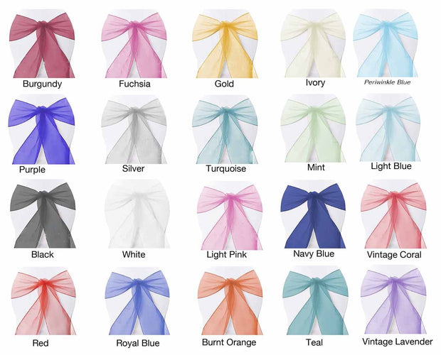 Organza Chair Sashes - Rainbow Party Pack