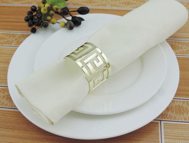 Gold Napkin Ring - Geometric Luxe Meander