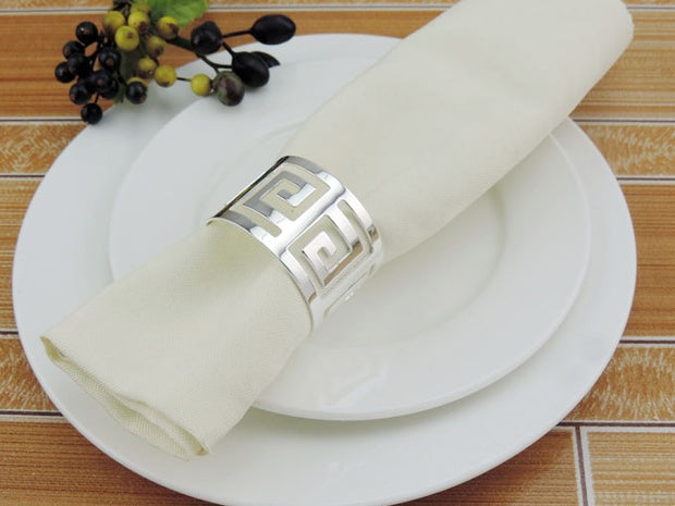 Silver Napkin Ring - Geometric Luxe Meander