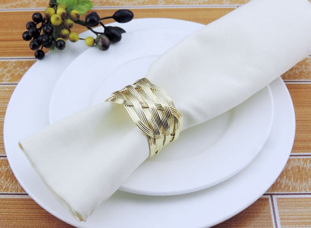 Gold Napkin Ring - Luxe Braided Knotted Weave