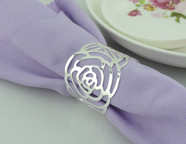 Silver Napkin Ring - Elegant English Rose Cut Out