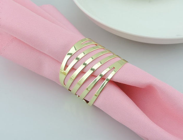 Gold Napkin Ring - Modern Linear Cut Out