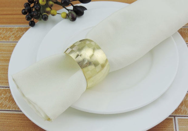 Gold Napkin Ring - Geometric Luxe Square Pattern