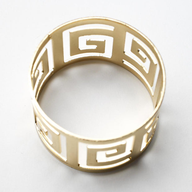 Gold Napkin Ring - Geometric Luxe Meander. Without Napkin