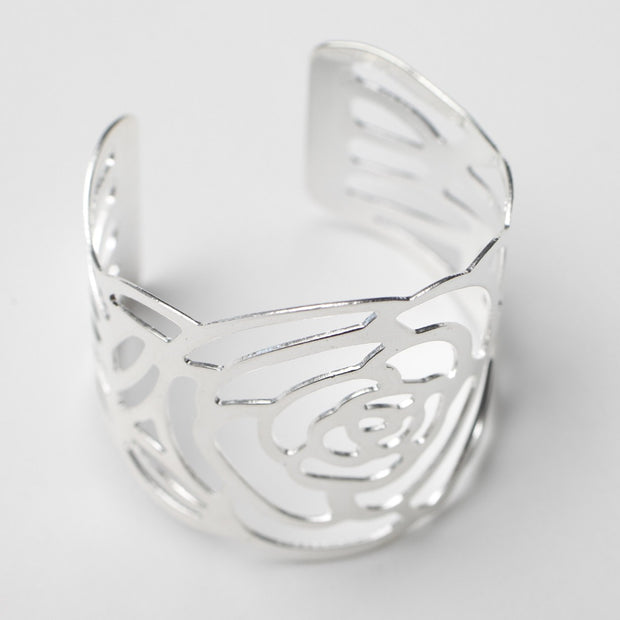 Silver Napkin Ring - Elegant English Rose Cut Out. Without Napkin