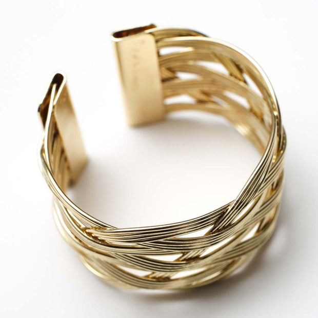 Gold Napkin Ring - Luxe Braided Knotted Weave. Without Napkin
