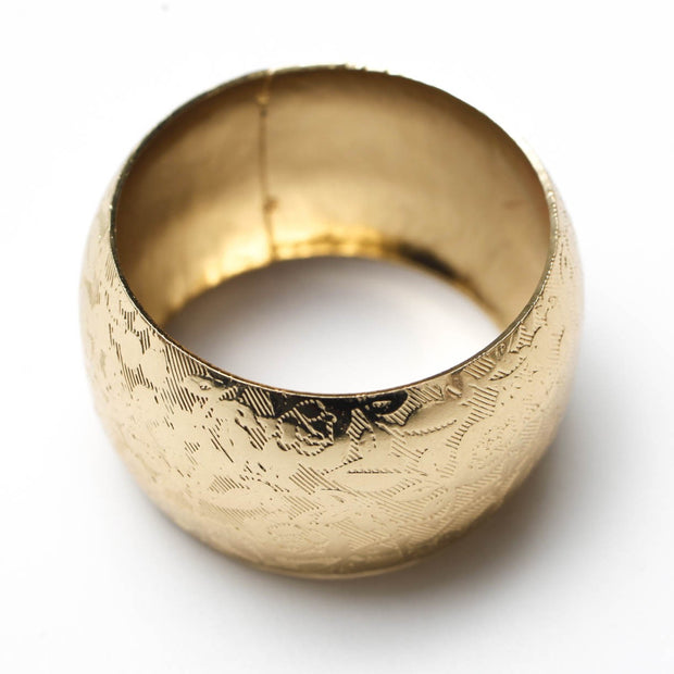 Gold Napkin Ring - Romantic Floral Lace Pattern. Without Napkin, Side