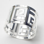 Silver Napkin Ring - Geometric Luxe Meander. Without Napkin, Top