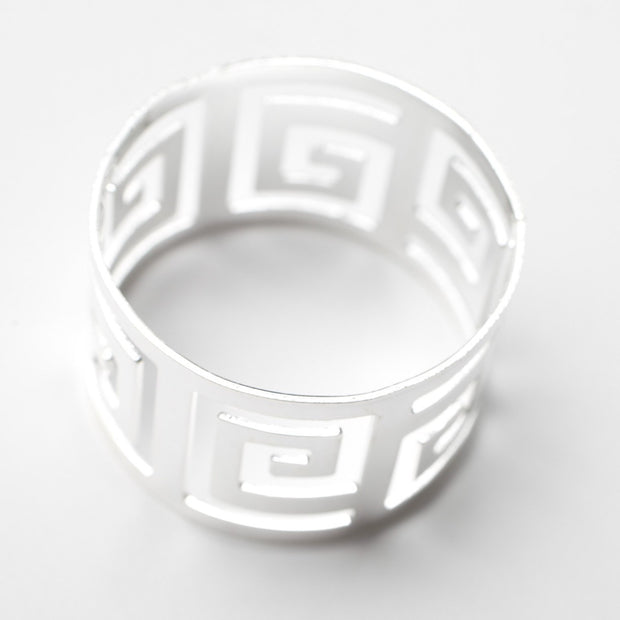 Silver Napkin Ring - Geometric Luxe Meander. Without Napkin, Side