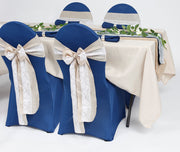 Classic Blue Navy linen hessian and lace table setting
