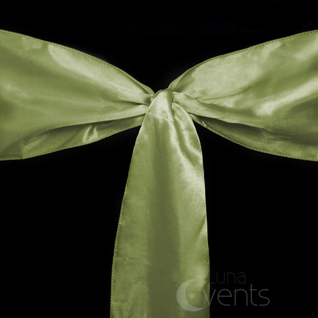 Satin Chair Sashes Detail - Olive Green (Sage)