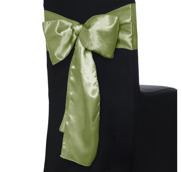 Satin Chair Sashes - Olive Green (Sage)