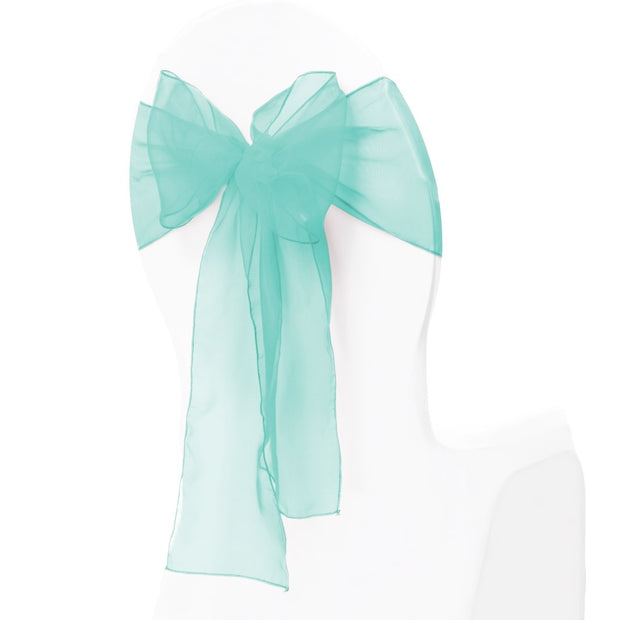 Organza Chair Sash oblique view - Turquoise