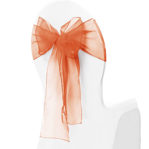 Organza Chair Sash oblique view - Orange
