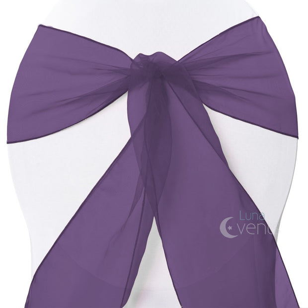 Organza Chair Sashes - Plum