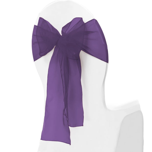 Organza Chair Sash oblique view - Plum