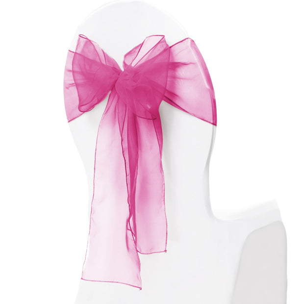 Organza Chair Sash oblique view - Hot Pink