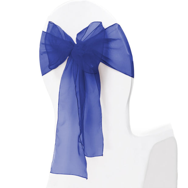 Organza Chair Sash oblique view - Navy Blue