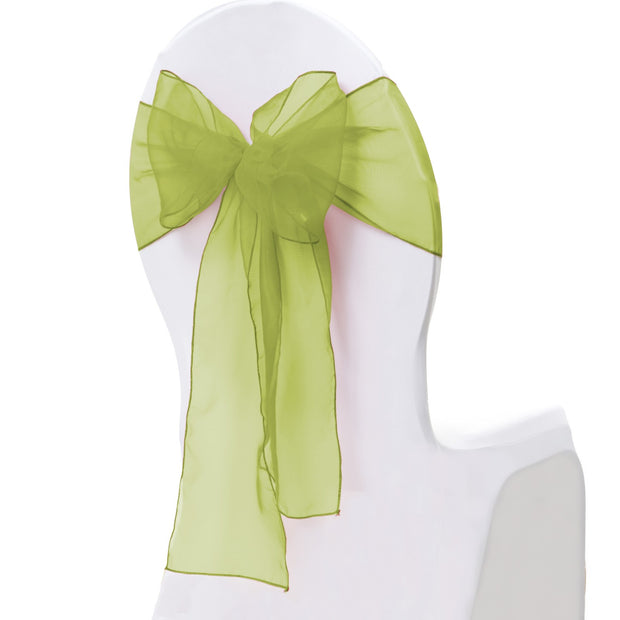 Organza Chair Sash oblique view - Olive Green