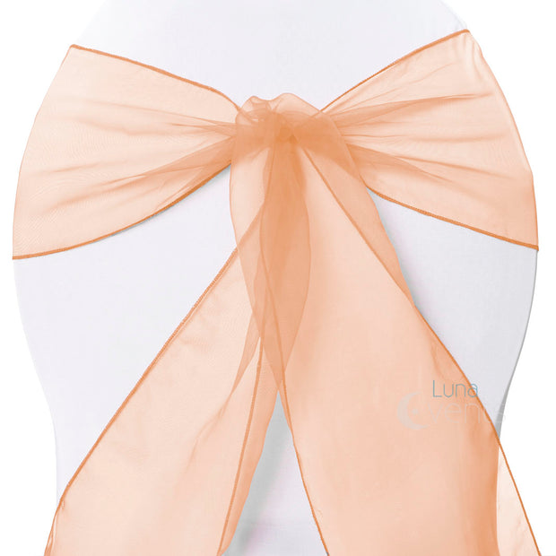 Organza Chair Sashes - Peach