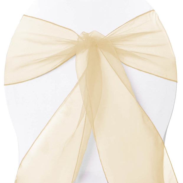 Organza Chair Sashes - Gold