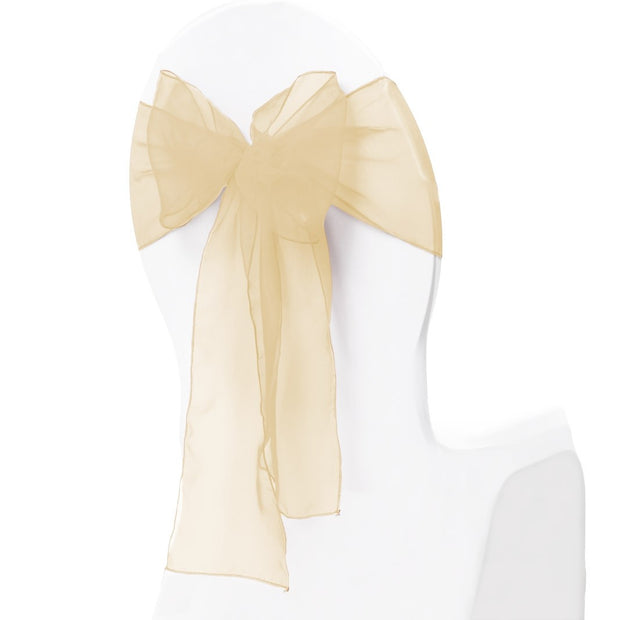 Organza Chair Sash oblique view -Gold