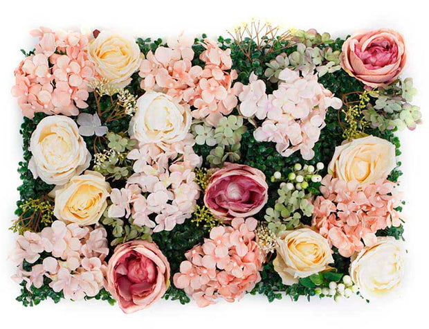 PREMIUM Flower Wall - Peony, Rose, Hydrangea & Box Hedge (Blush Pink, Peach, Cream, Green)