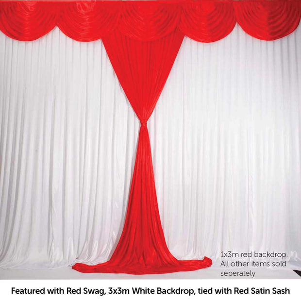 Red Ice Silk Satin Backdrop Convertible Panels 1mx3m