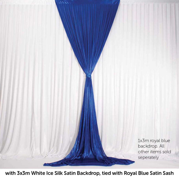 Royal Blue Ice Silk Satin Backdrop Convertible Panels 1mx3m